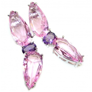 Huge Incredible quality Pink Topaz .925 Sterling Silver handcrafted earrings
