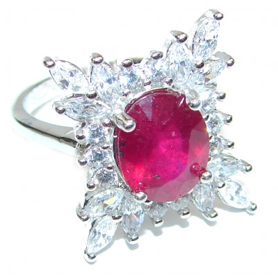 Luxurious Genuine Ruby .925 Sterling Silver handcrafted Statement Ring size 6 1/4