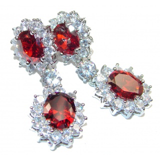 Radiant Dewdrops Red Topaz .925 Sterling Silver entirely handmade earrings