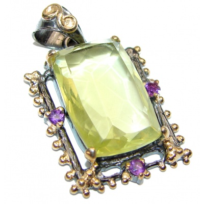 Genuine Lemon Quartz .925 Sterling Silver handcrafted pendant