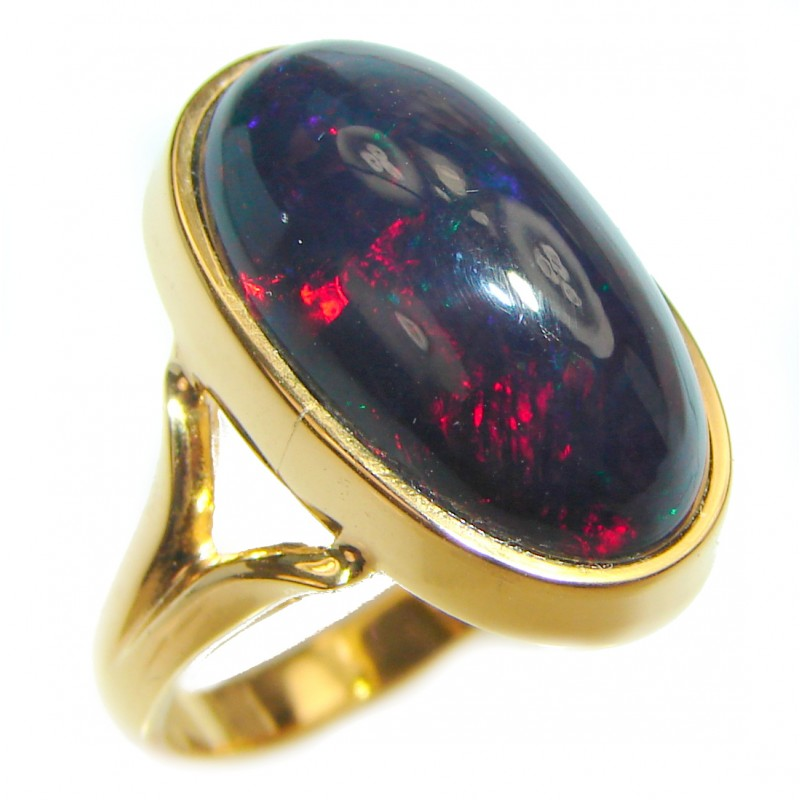 Vintage Design 12.5ctw Genuine Black Opal 18K Gold over .925 Sterling Silver handmade Ring size 7 1/2