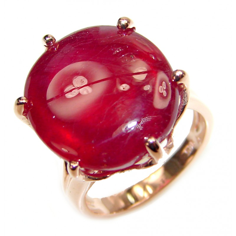 Genuine 27ct Ruby 18K yellow Gold over .925 Sterling Silver handmade Cocktail Ring s. 5