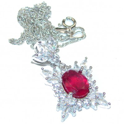 Princess Incredible Authentic Ruby & White Topaz .925 Sterling Silver necklace
