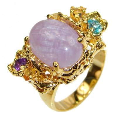 Purple Fire Moonstone 14K Gold over .925 Sterling Silver handmade ring s. 8