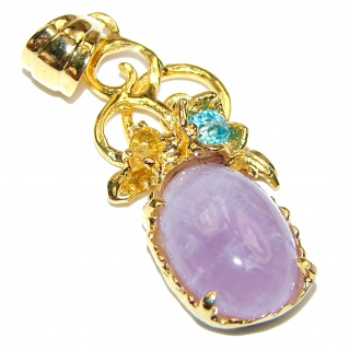 Purple Fire Moonstone 14K Gold over .925 Sterling Silver Pendant