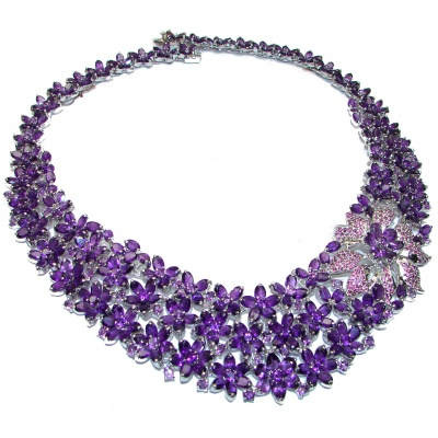 Marie Antoinette's STYLE authentic African Amethyst .925 Sterling Silver handcrafted Necklace