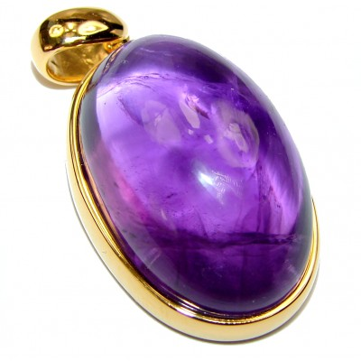Lilac Blessings spectacular 61.5ct Amethyst 18K Gold over .925 Sterling Silver handcrafted pendant