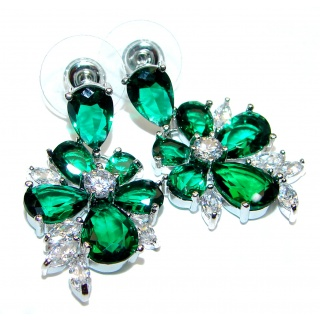 Royal quality green Topaz .925 Sterling Silver handcrafted earrings