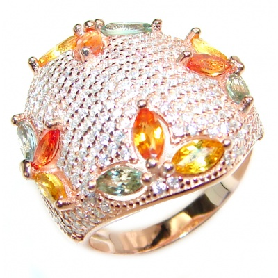Genuine multicolor Sapphire Rose Gold over .925 Sterling Silver handcrafted Statement Ring size 7