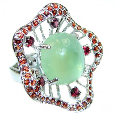 JUICY Natural Prehnite Peridot 14K Gold over .925 Sterling Silver handmade ring s. 8 1/2