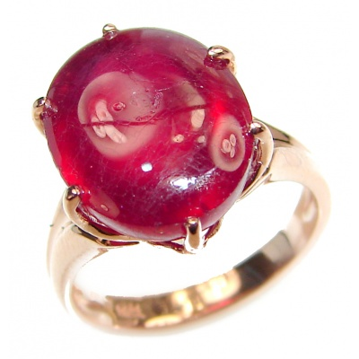 Genuine 14ct Ruby 18K yellow Gold over .925 Sterling Silver handmade Cocktail Ring s. 5 3/4