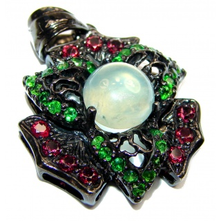 Beautiful genuine Prehnite black rhodium over .925 Sterling Silver handcrafted Pendant