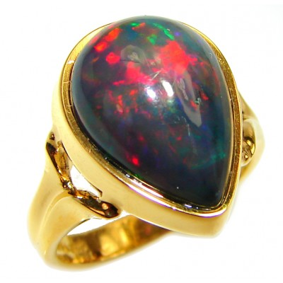 Vintage Design 14.5ctw Genuine Black Opal 14K Gold over .925 Sterling Silver handmade Ring size 6