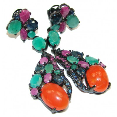 Large Authentic Mexican Fire Opal .925 Sterling Silver handcrafted statement earrings