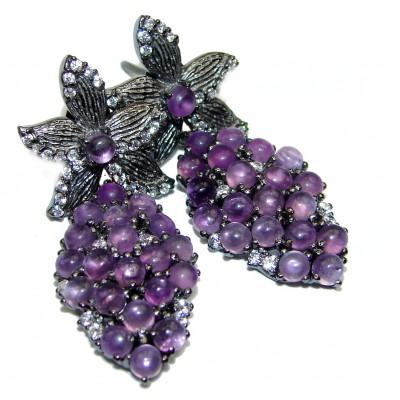 Incredible Grapes Amethyst .925 Sterling Silver handcrafted earrings