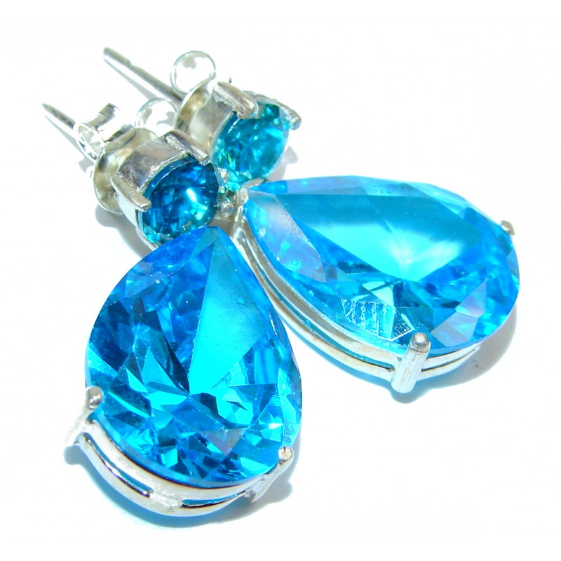 Angel Blue Cubic Zirconia .925 Sterling Silver handcrafted earrings