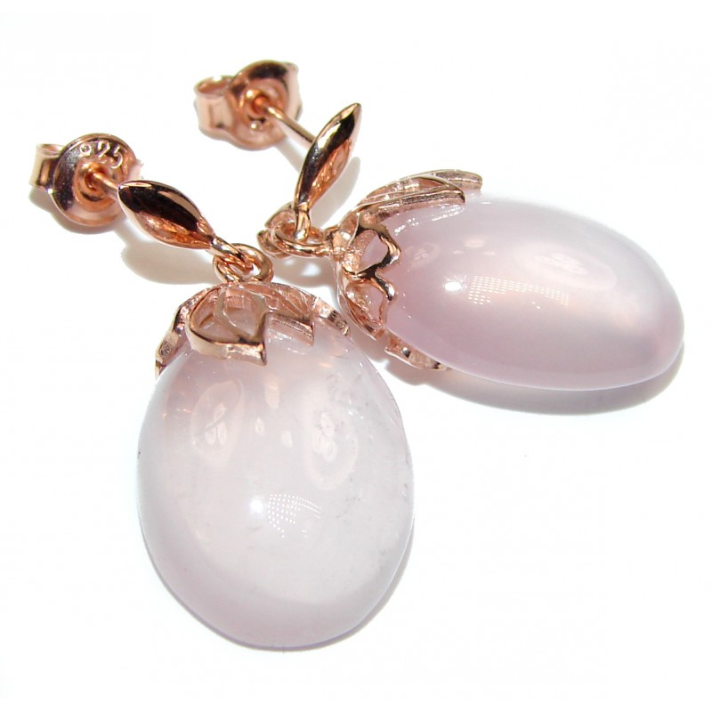 Authentic Juicy Rose Quartz .925 Sterling Silver handmade earrings