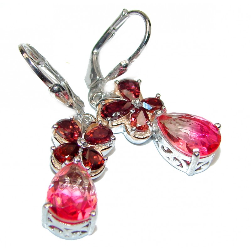 Precious Pink Tourmaline .925 Sterling Silver entirely handmade earrings