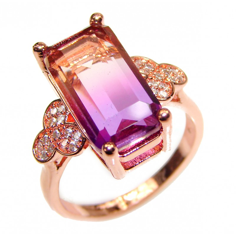 LUXURY emerald cut Ametrine Gold over .925 Sterling Silver handcrafted Ring s. 7