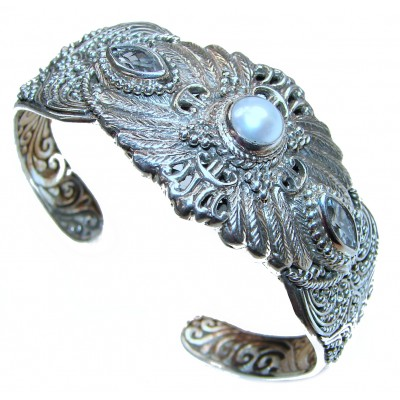 Big Dreamer Real Pearl .925 Sterling Silver handcrafted Statement Bracelet / Cuff