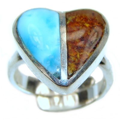 Blue Larimar Amber Angel's Heart .925 Sterling Silver handcrafted Ring s. 6 adjustable