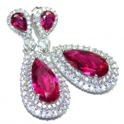 Incredible Red Topaz .925 Sterling Silver entirely handmade earrings