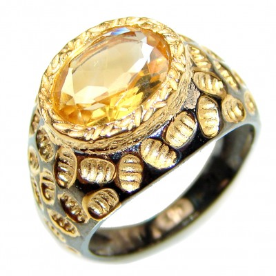 Vintage Style Citrine Gold over .925 Sterling Silver handmade Cocktail Ring s. 7