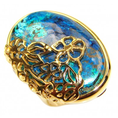 Stone Of Harmony Parrots Wing Chrysocolla 18K Gold over .925 Sterling Silver ring s. 7 3/4