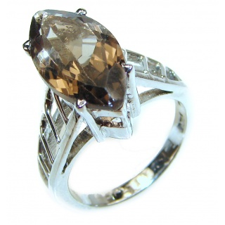 Very Bold Champagne Smoky Topaz 14K Gold over .925 Sterling Silver Ring size 8 1/4