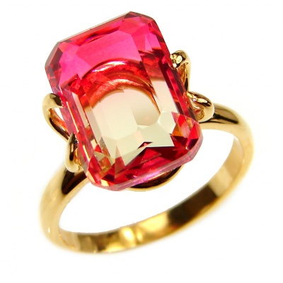 Top Quality Pink Tourmaline Gold over .925 Sterling Silver handcrafted Ring s. 7 1/4