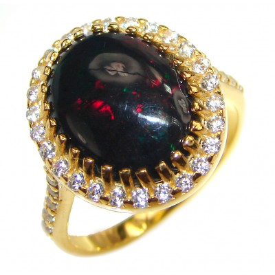 Vintage Design 5.5ctw Genuine Black Opal 18K Gold over .925 Sterling Silver handmade Ring size 8