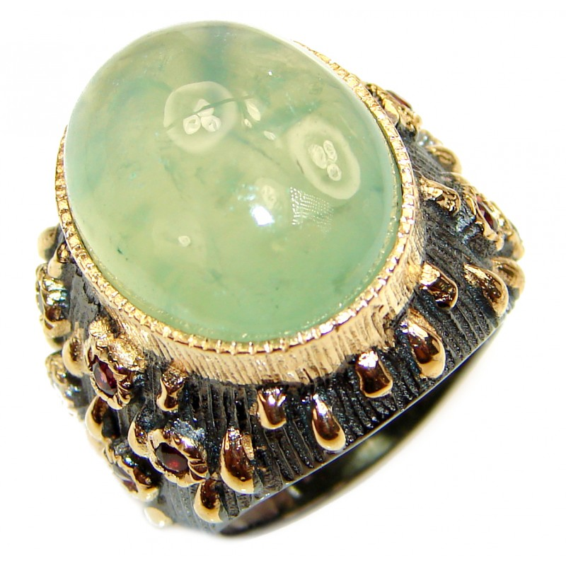 Large Natural Prehnite 14K Gold over .925 Sterling Silver handmade ring s. 7