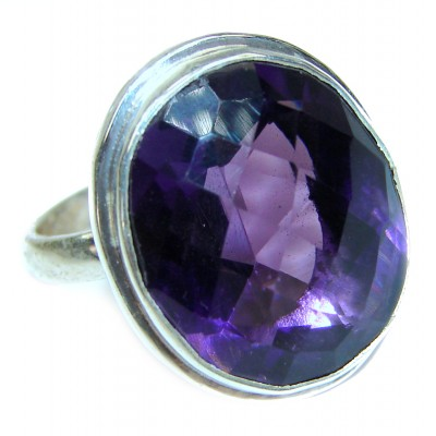 Authentic 65ctw Amethyst .925 Sterling Silver handcrafted ring s. 8 1/4