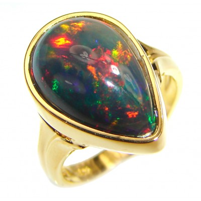 Vintage Design 14.5ctw Genuine Black Opal 14K Gold over .925 Sterling Silver handmade Ring size 6 1/4