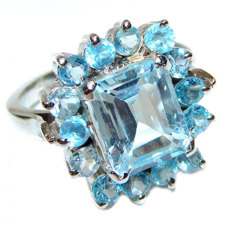 Melissa Genuine Swiss Blue Topaz .925 Sterling Silver handcrafted Statement Ring size 8 1/4