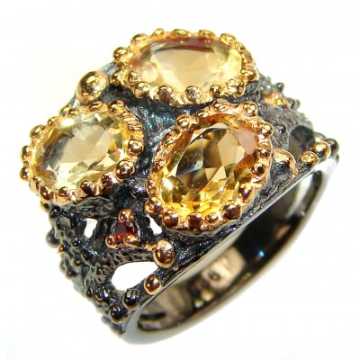 Vintage Style Citrine black rhodium over .925 Sterling Silver handmade Cocktail Ring s. 6 1/4