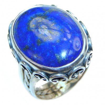 LARGE Natural Lapis Lazuli .925 Sterling Silver handcrafted ring size 6