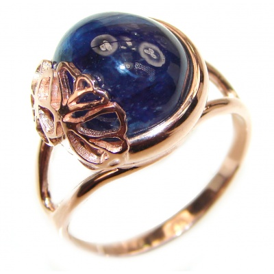 Genuine 22ct Sapphire 18K yellow Gold over .925 Sterling Silver handmade Cocktail Ring s. 10 3/4