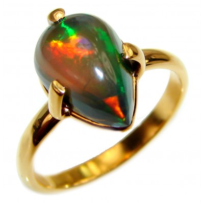 Vintage Design 2.5ctw Genuine Black Opal 18K Gold over .925 Sterling Silver handmade Ring size 9