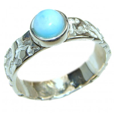 Aqua Natural Dominican Republic Larimar .925 Sterling Silver handcrafted Ring s. 9 1/4