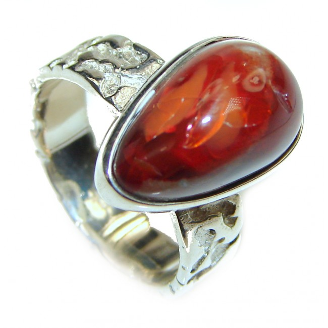 Mexican Opal .925 Sterling Silver handcrafted Ring size 8