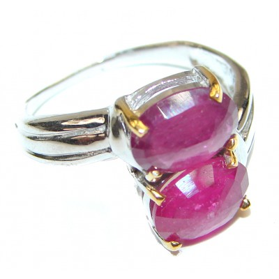 Genuine Ruby .925 Sterling Silver handcrafted Statement Ring size 7 3/4