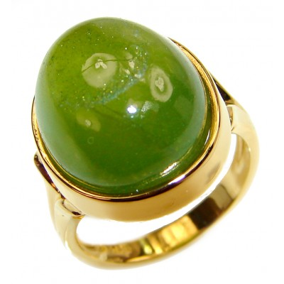 Authentic 20ct Green Tourmaline Yellow gold over .925 Sterling Silver brilliantly handcrafted ring s. 8 1/2