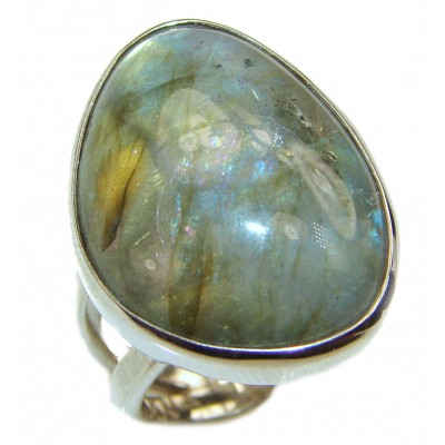 Silky Fire Labradorite 2 tones .925 Sterling Silver handmade ring size 7 adjustable