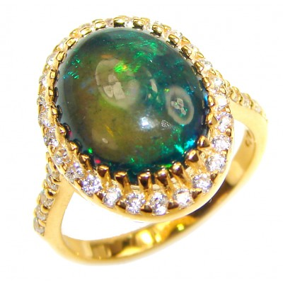 Vintage Design 5.5ctw Genuine Black Opal 18K Gold over .925 Sterling Silver handmade Ring size 6