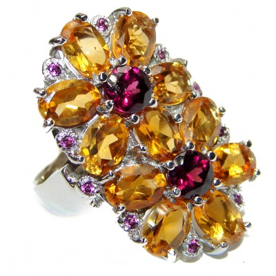 Vintage Style Citrine .925 Sterling Silver handmade Cocktail Ring s. 8