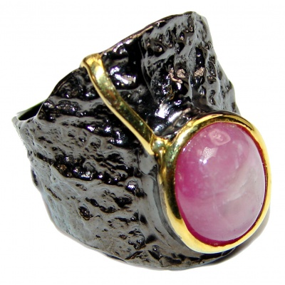 Genuine 45 ctw Star Ruby .925 Sterling Silver handcrafted Statement Ring size 8 1/4