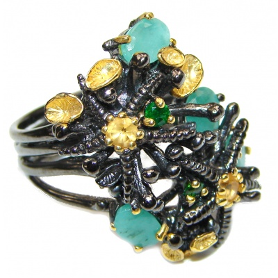 Fancy Genuine Emerald black rhodium over .925 Sterling Silver handcrafted Statement Ring size 8 1/4