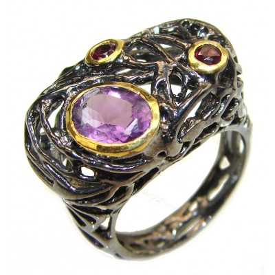 Authentic Garnet Amethyst black rhodium over .925 Sterling Silver handcrafted ring s. 8 1/4