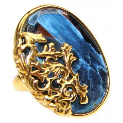 Huge Silky Golden Pietersite 18K Gold over .925 Sterling Silver handmade Ring size 7 3/4